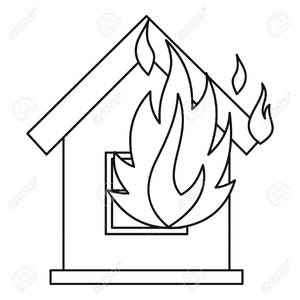 House On Fire Icon Outline Illustration Of House On Fire Vector Royalty Free Cliparts Vectors And Stock Illust Outline Illustration Fire Icons Fire Vector
