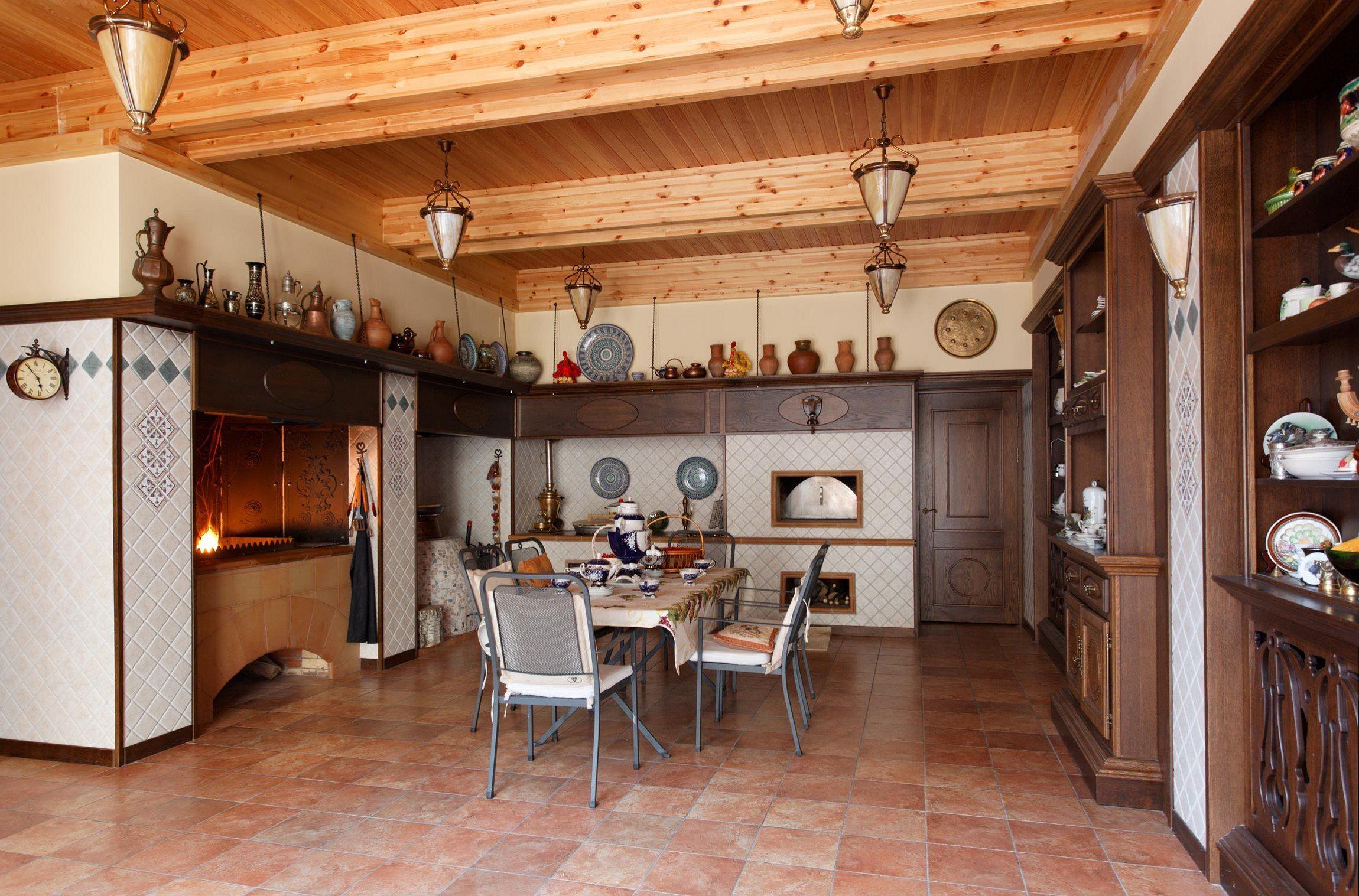 интерьер кухни с русской печью в частном доме фото