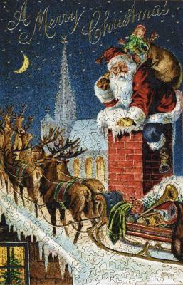 Rooftop Reindeer Vintage Christmas Images Christmas Postcard Vintage Christmas