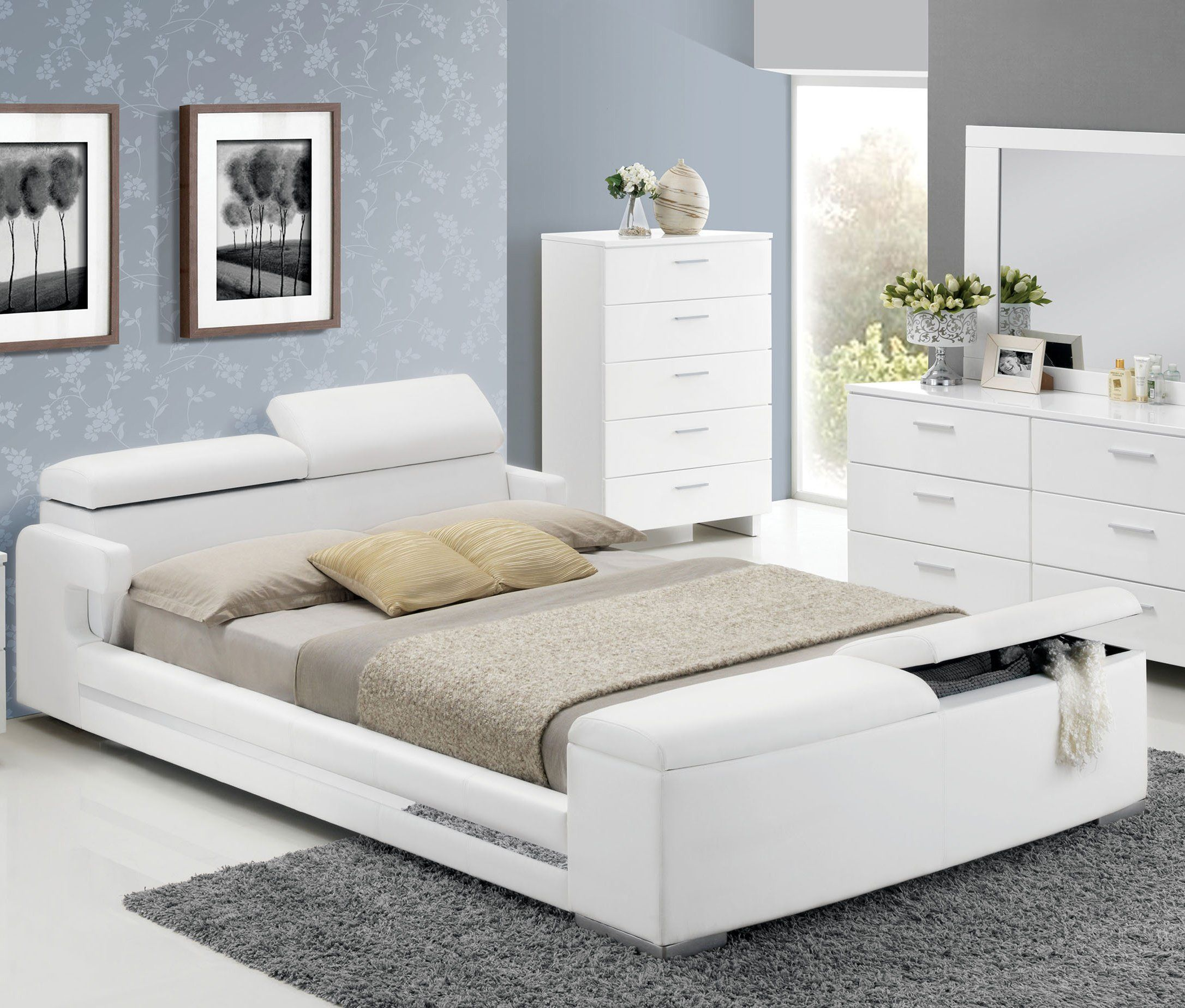 Vito White Queen Storage Bed With Bookcase Headboard With Images