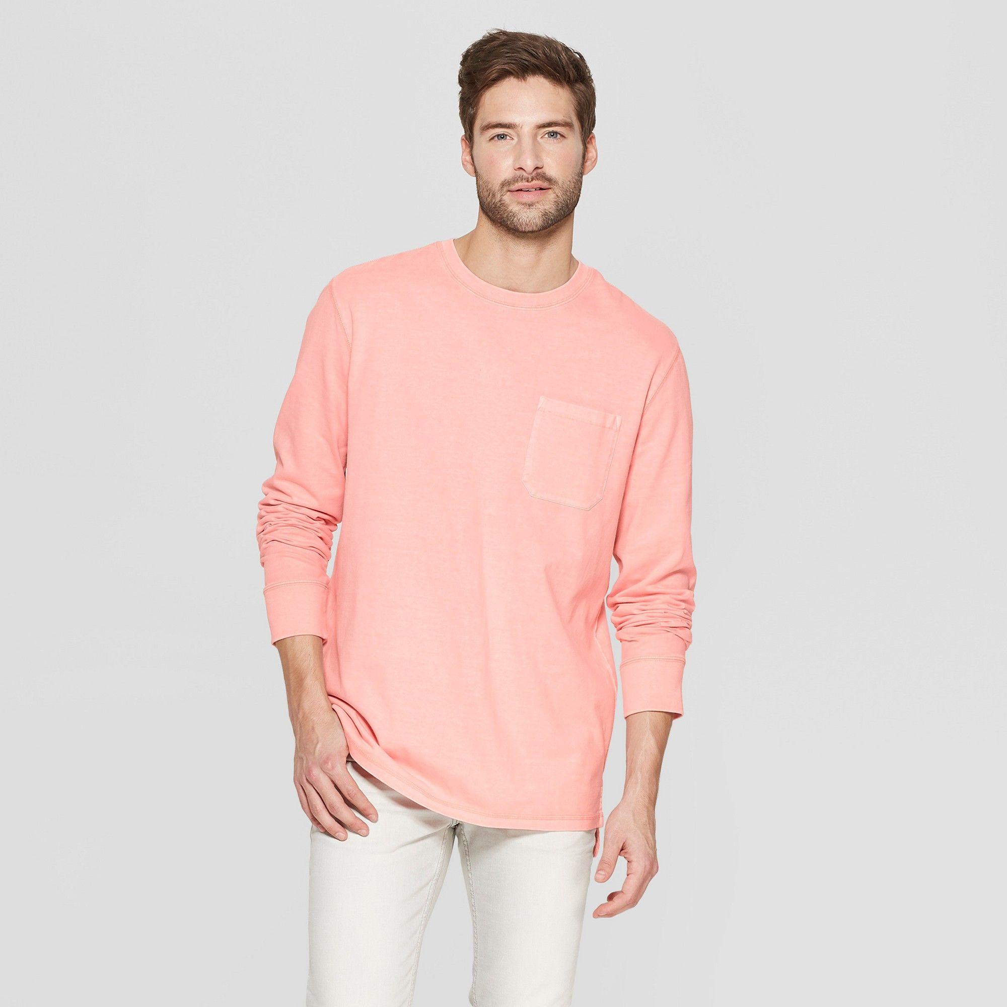 03352a63 Men's Standard Fit Long Sleeve Garment Dye Pocket T-Shirt - Goodfellow & Co  Coral Bay XL