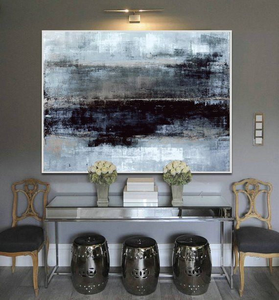 Large Oil Painting Original Canvas Black Painting Gray Etsy In 2021 Large Canvas Wall Art Canvas Wall Art Contemporary Abstract Art Painting Diy