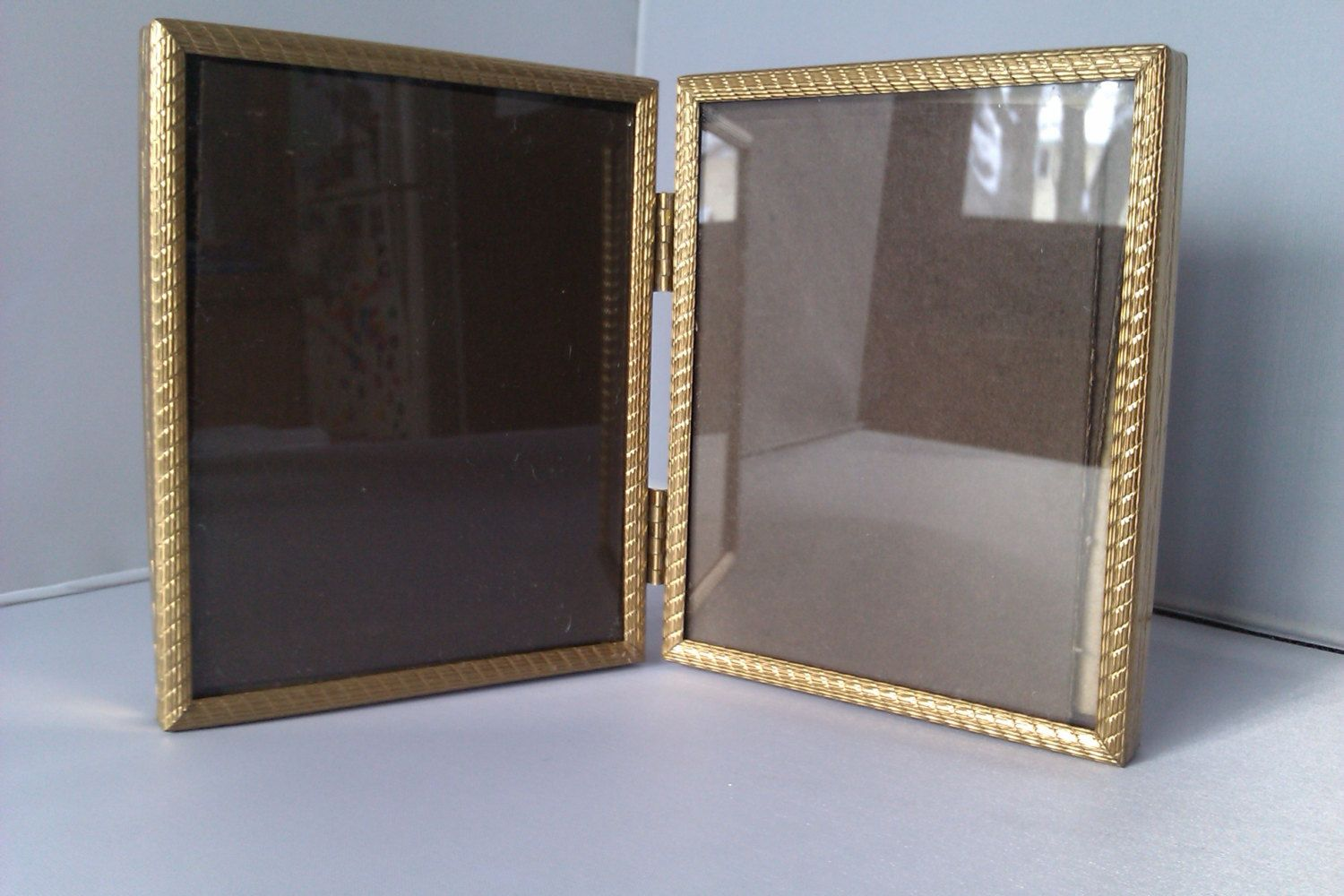 4x5 Hinged Picture Frame Vintage Double Gold Toned Frames | Attic ...