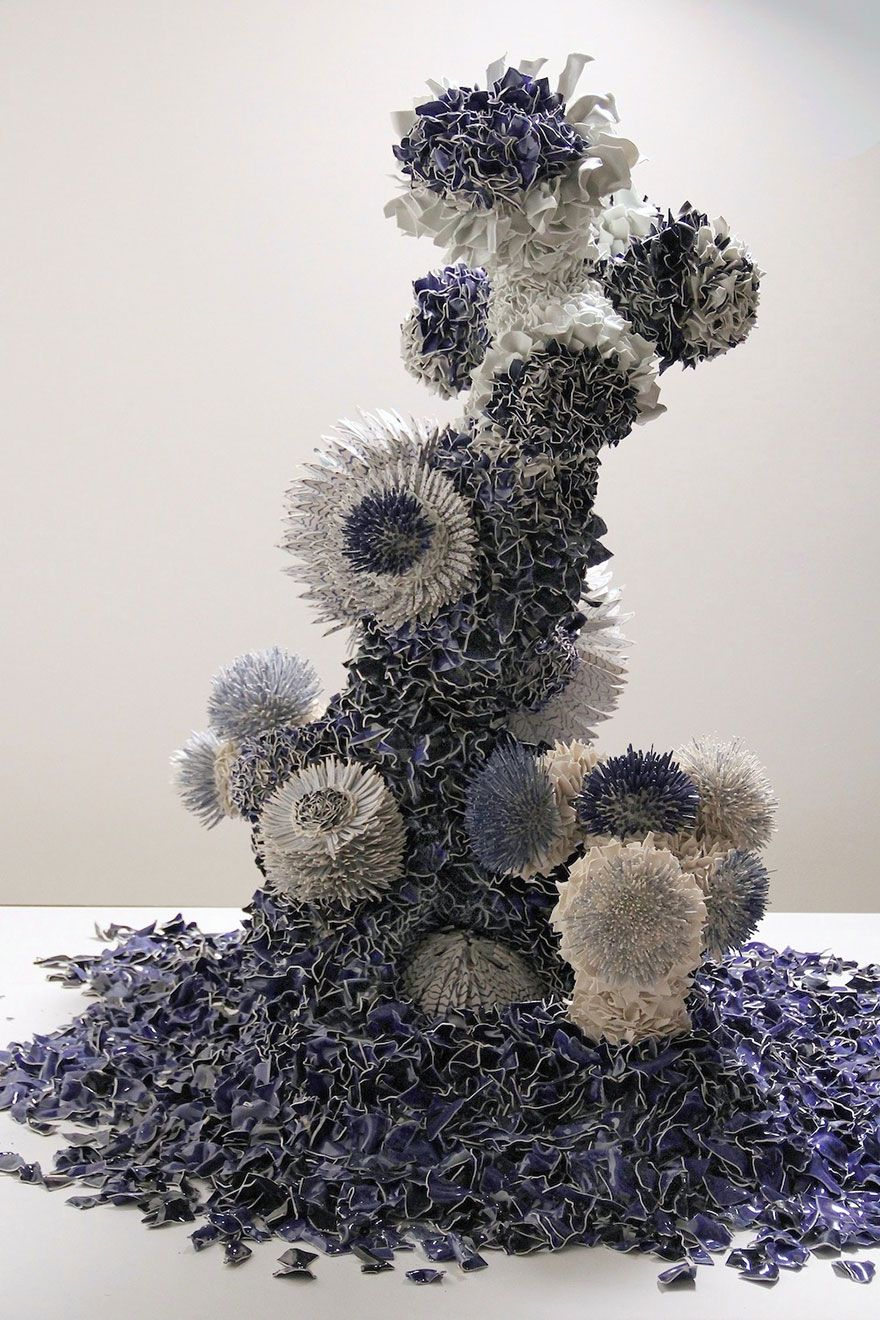 I Combine Thousands Of Porcelain Shards Into Blooms