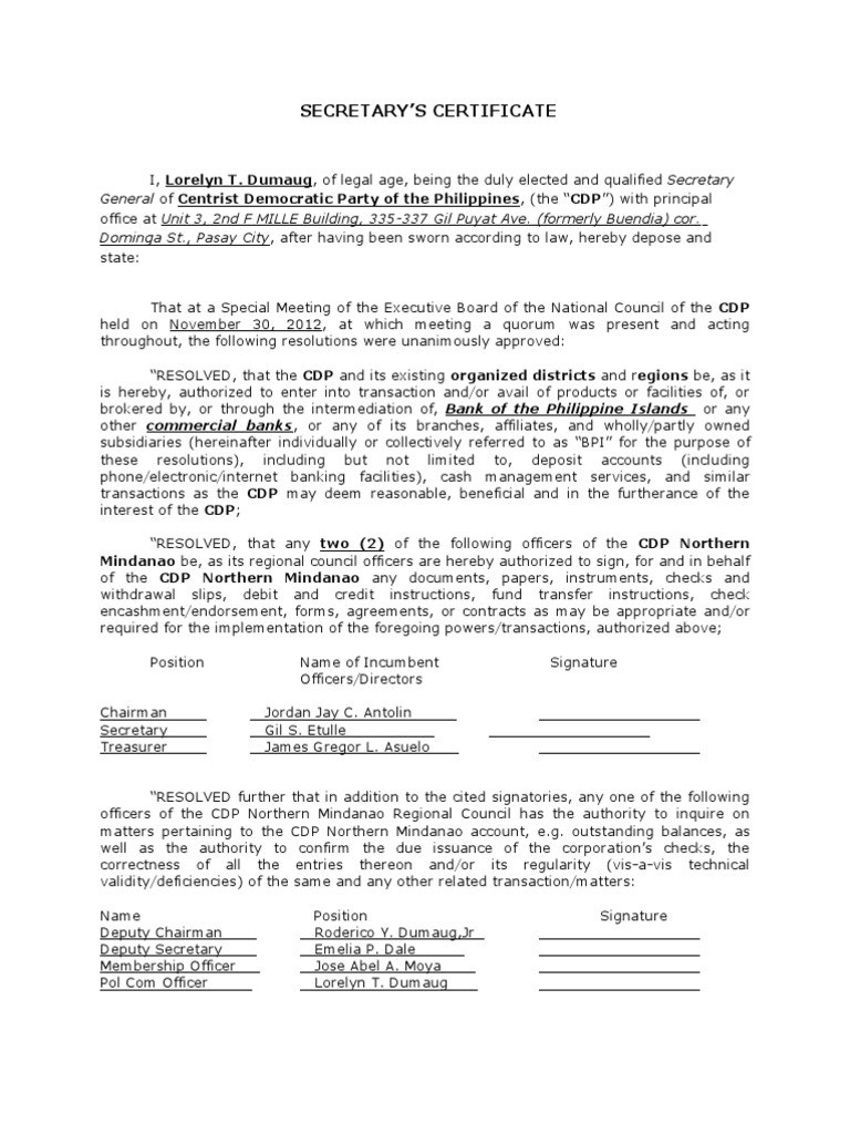 How To Write Notarized Board Resolution Sample Philippines Intended For Corporate Secretary Certificate Templa Certificate Templates Certificate Best Templates
