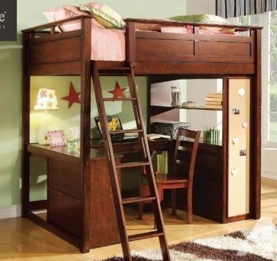 Loft Bed Computer Desk Full Size 325 Roseburg Kiddos Loft