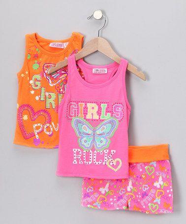 Take a look at this Orange 'Girl Power' Shorts Set - Infant, Toddler