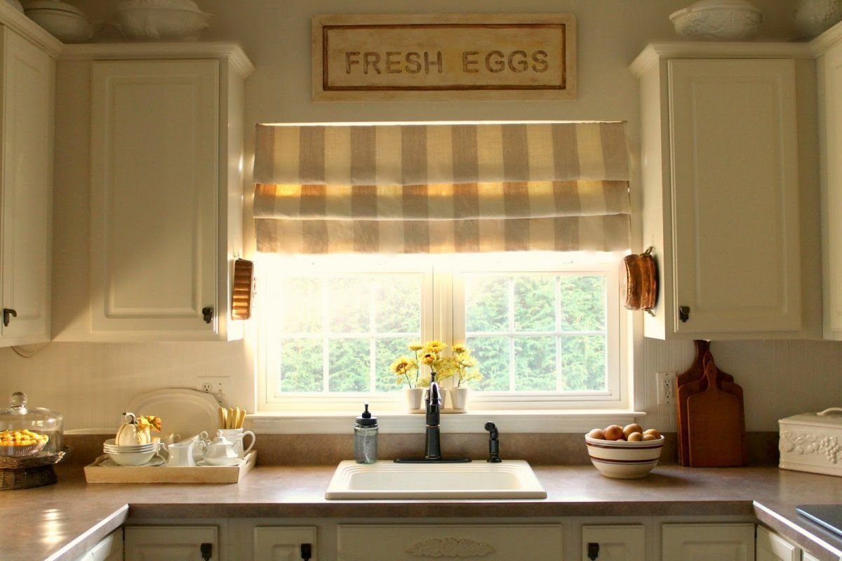 Make Your Kitchen More Beautiful With Kitchen Roman Shade : Classic Kitchen  Decor Idea For Small Room Space Using White U Shaped Kitchen Cabinet  Designed ...