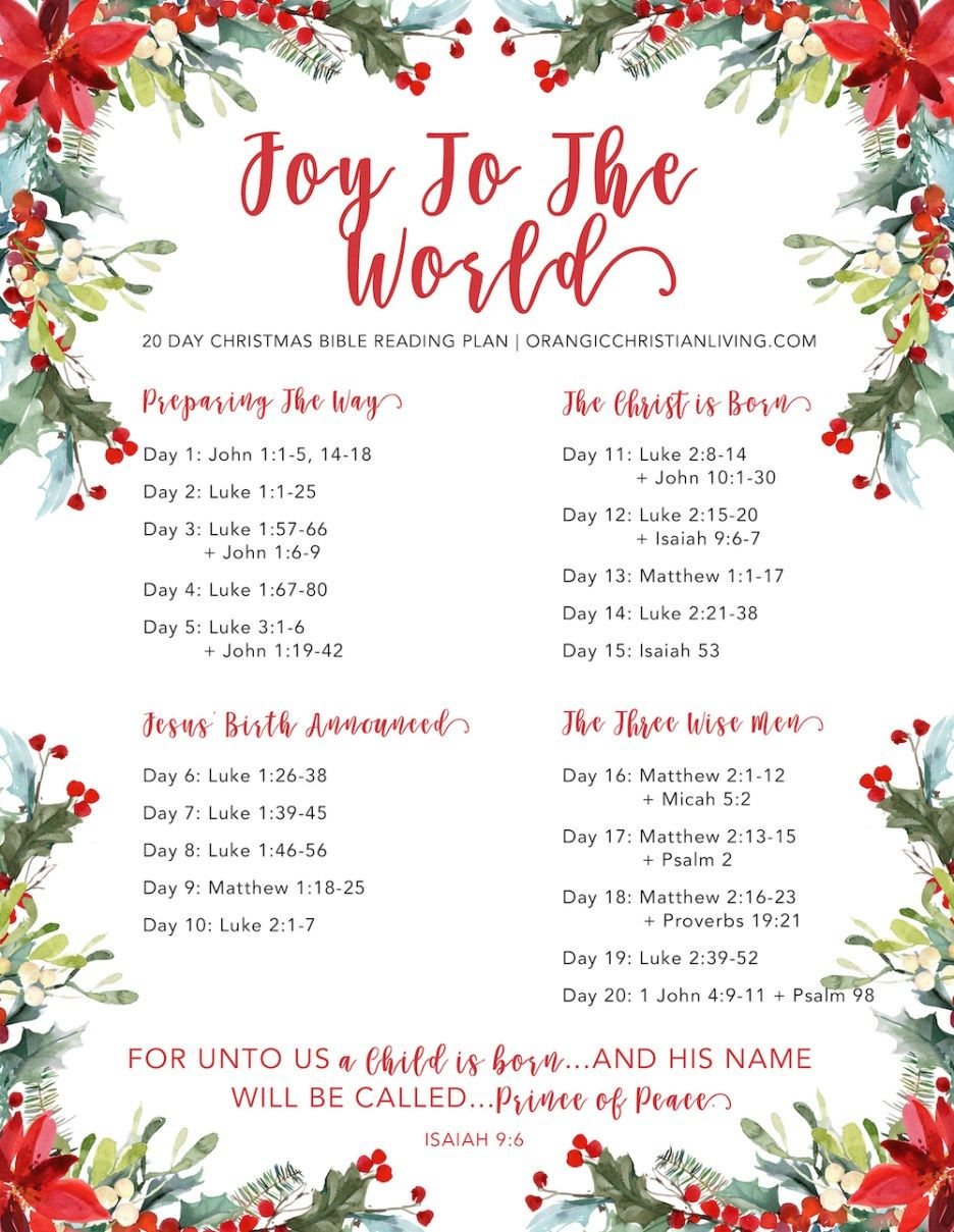 Christmas Bible Reading Plan: Joy To The World | Organic Christian ...