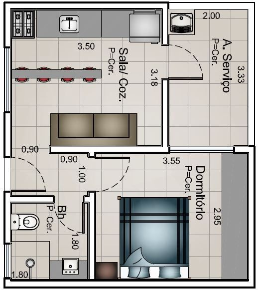 planos de casas modernas 1 dormitorio