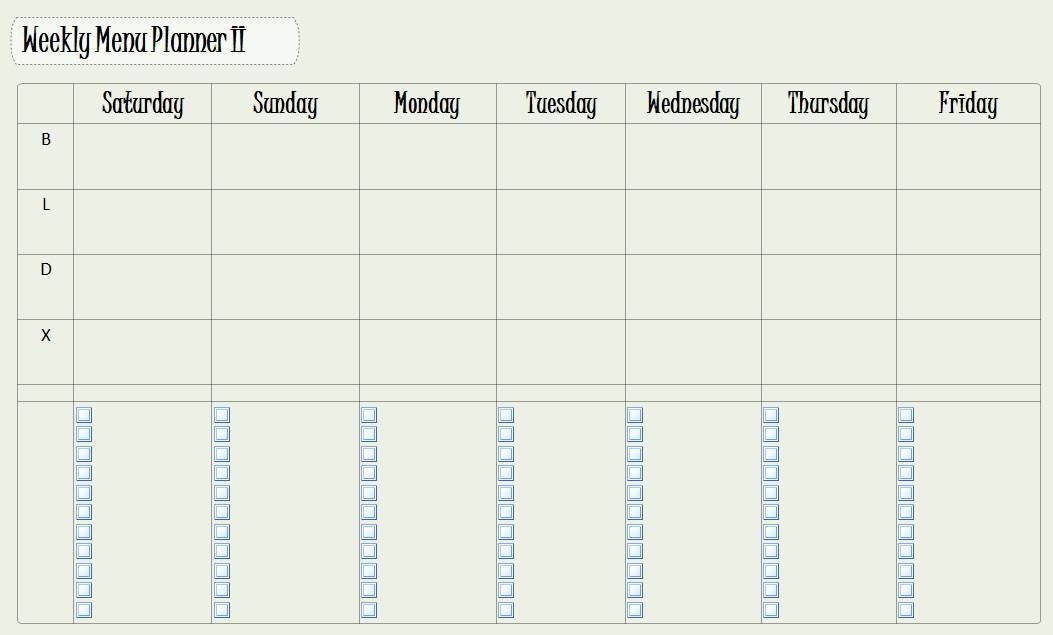 Another Version Of A Weekly Meal Planner In OneNote Not Pretty   Menu For  The Week  Menu For The Week Template