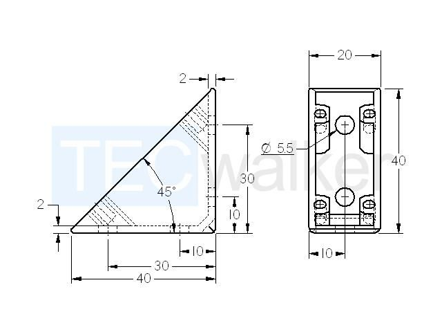 Maße Winkel 5 40 x 40 ZN