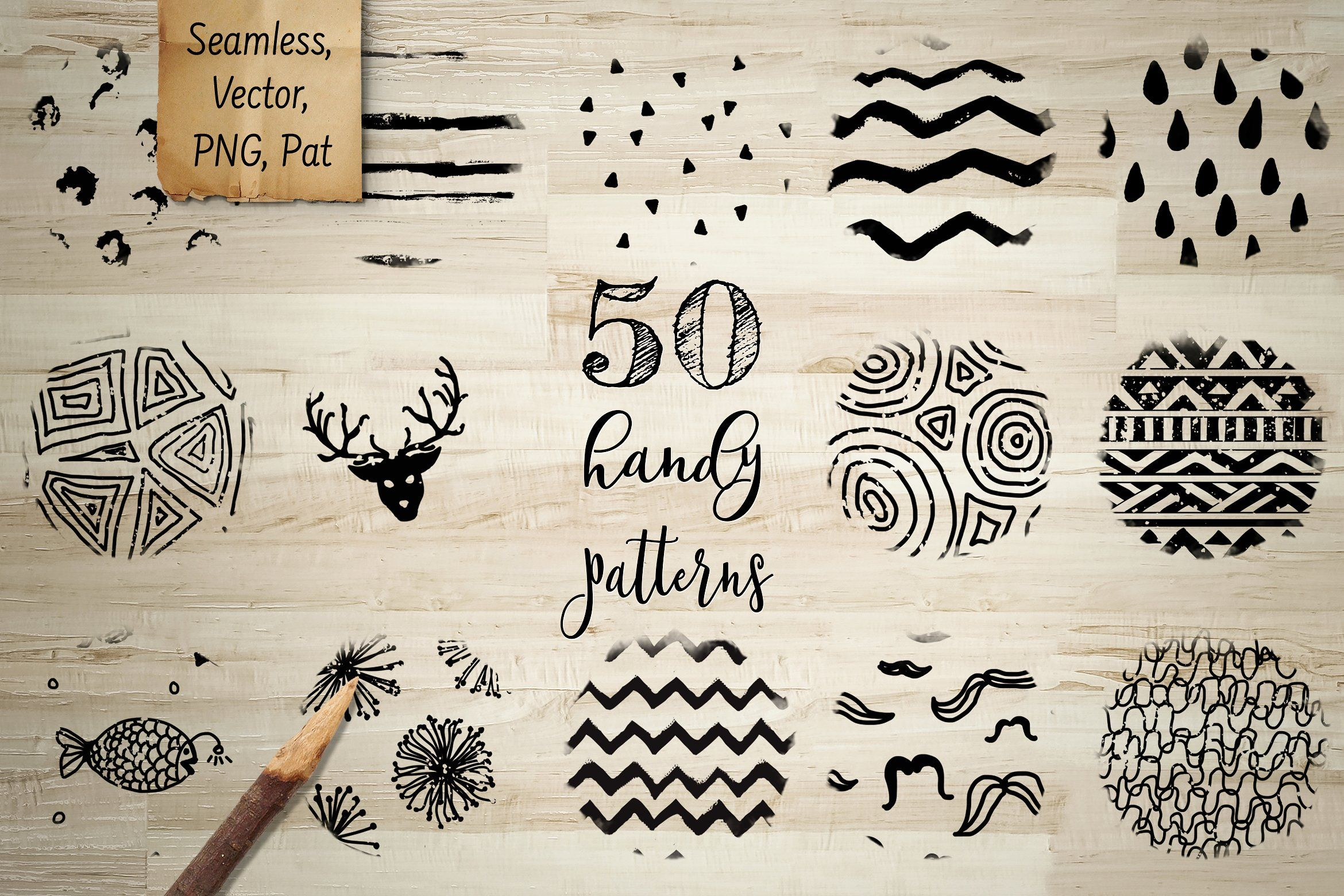 50 Handy Patterns. Very cute doodle seamless patterns #graphicdesign #wrap #wrapping #handdrawn #doodle #patterns #textures #background #chevron #dots #spots #triangles #stripes #seamless