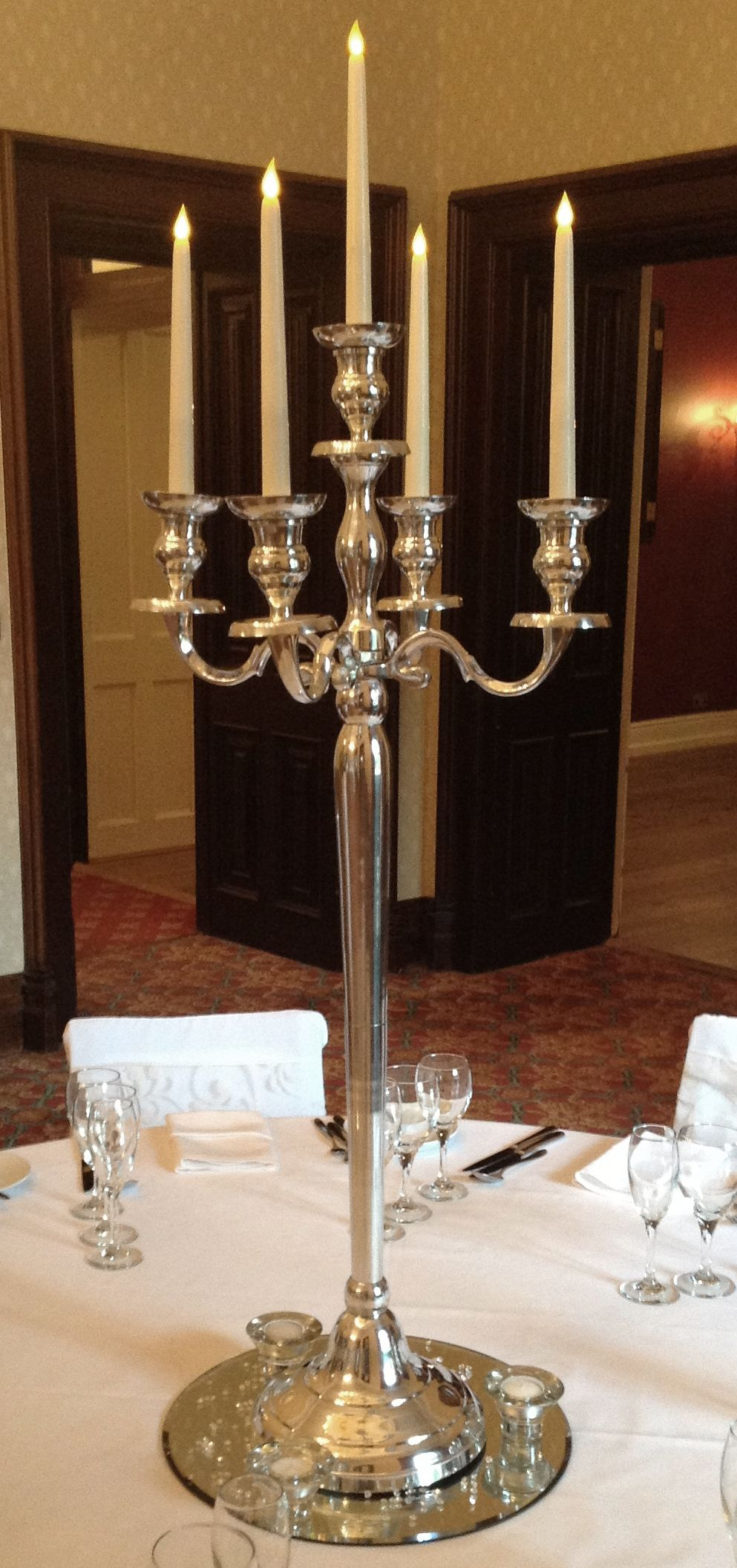 Simple And Elegant Candelabra On A Round Mirror Base Compete With Scatter  Crystals. Wedding Table CentresWedding ...