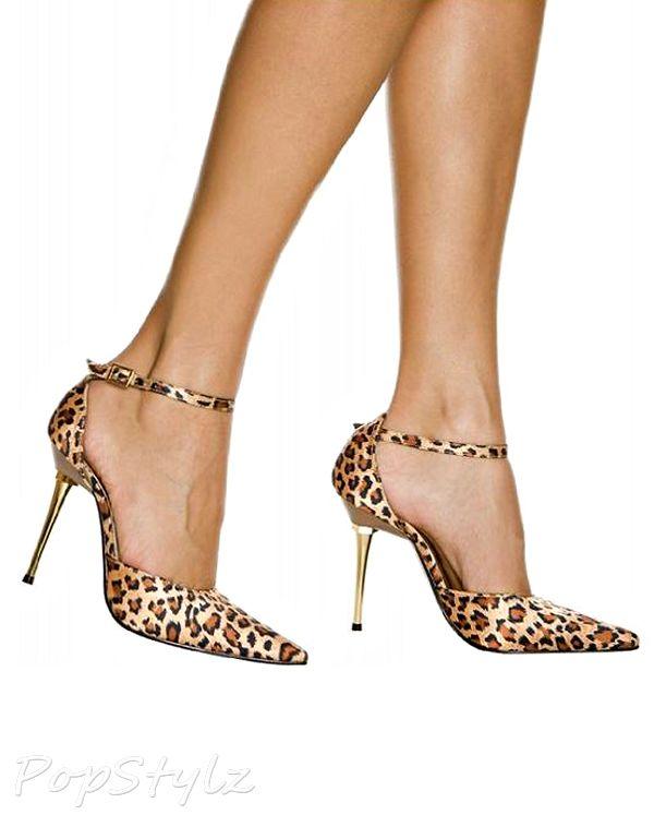 Highest Heel Slick Ankle-Strap Pumps