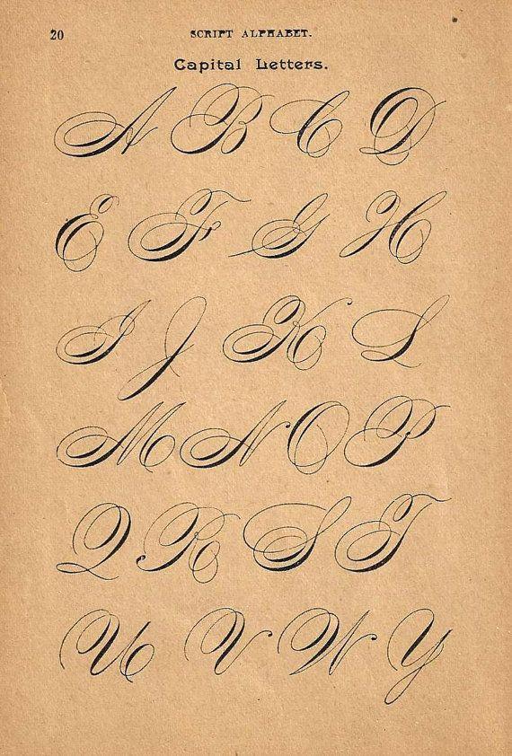 1890s Calligraphy Print Page Capital Letters Ornamental Writing Pen Flourishing Flipside Business Alphabet