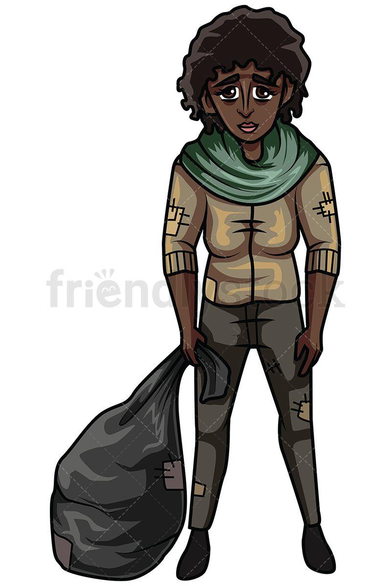 30 Homeless African American Woman Vector Cartoon Clipart ...