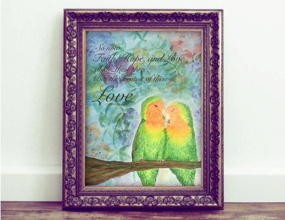 Love Bird Print 1 Corinthians 13:13 by CheerfulCollections on Etsy