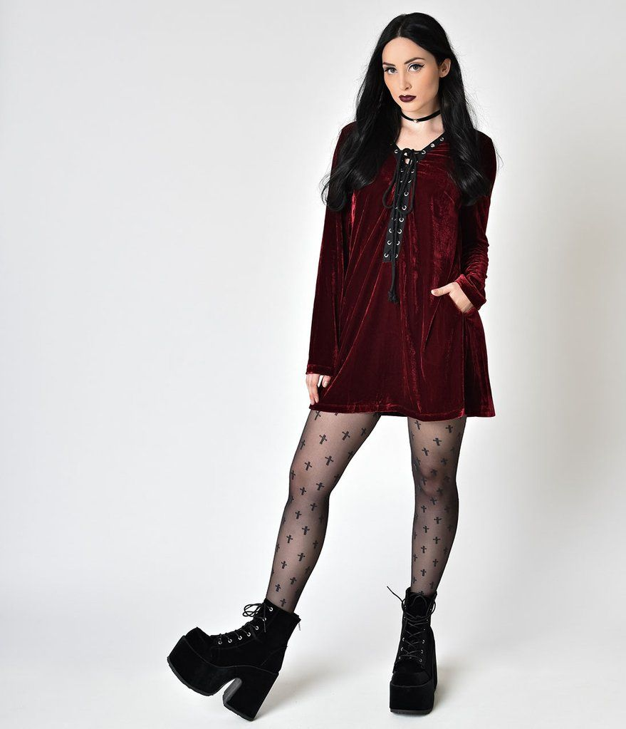 Blood red velvet long sleeve lace up flare dress clothes in