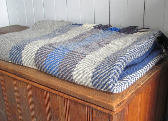 Ocean Blue Plaid Wool Throw Blanket Hand Woven Couch Throw