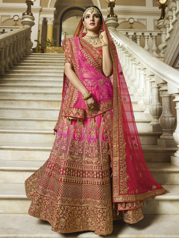 6f60e58f7a Jasmin Bhasin Pink and Red Silk Designer Lehenga Choli With Double Dupatta