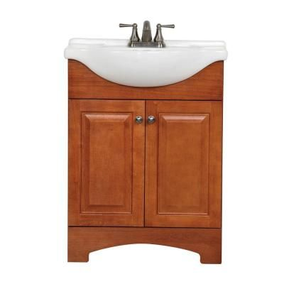 St Paul Chelsea 24 In Vanity In Nutmeg With Porcelain Vanity Top In White With White Basin Ch24eup2com N At The Home Depot Vanity Vanity Top Bathroom Vanity