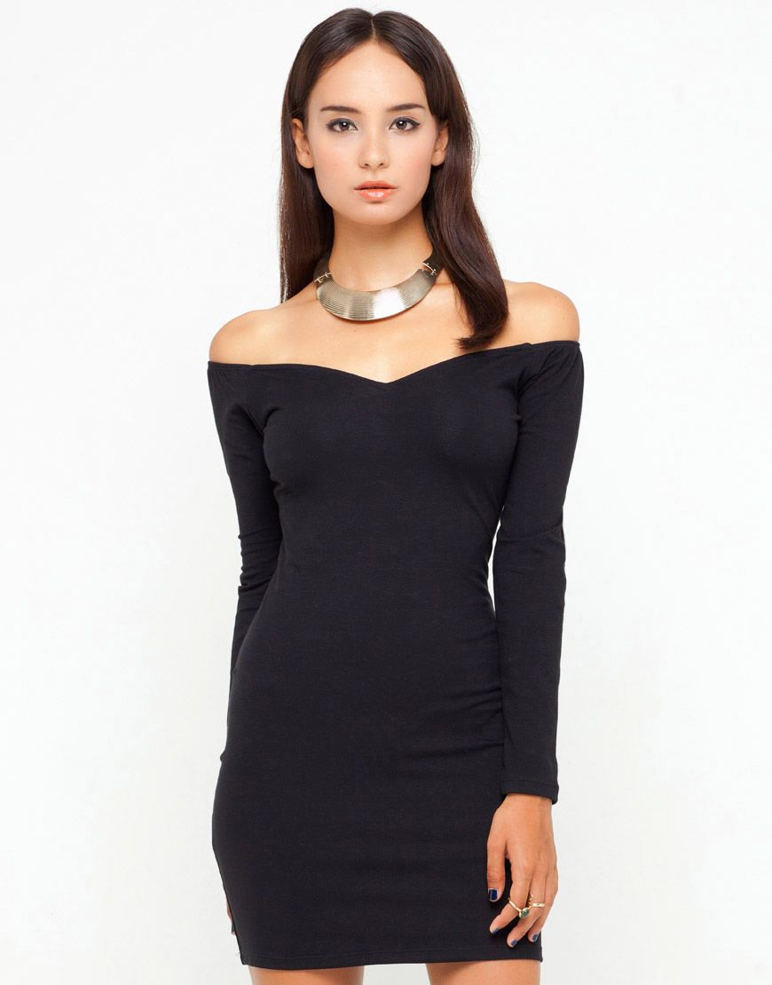 Sultry off the shoulder bodycon dress in stretch cotton in plain