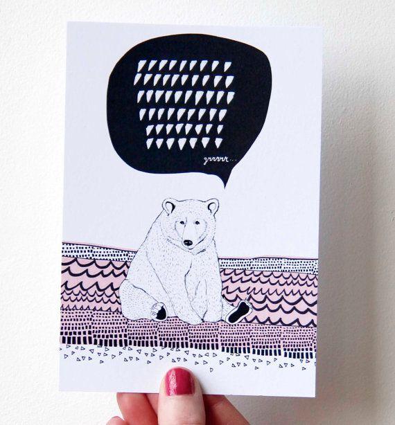 Card sitting bear Lovely Graphics by ReddishDesign on Etsy, €2.00