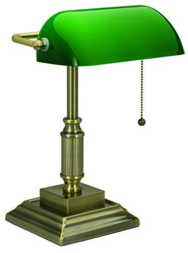 V Light Traditional Style Cfl Banker S Desk Lamp With Green Glass Shade Vs688029ab With Images Traditional Desk Lamps Desk Lamp Bankers Lamp