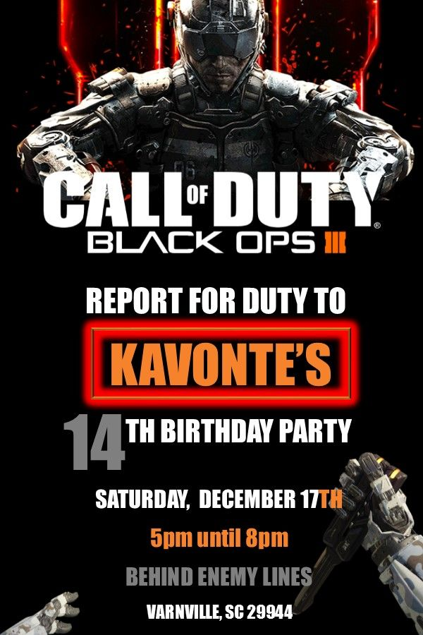 Call Of Duty Party Invitations
