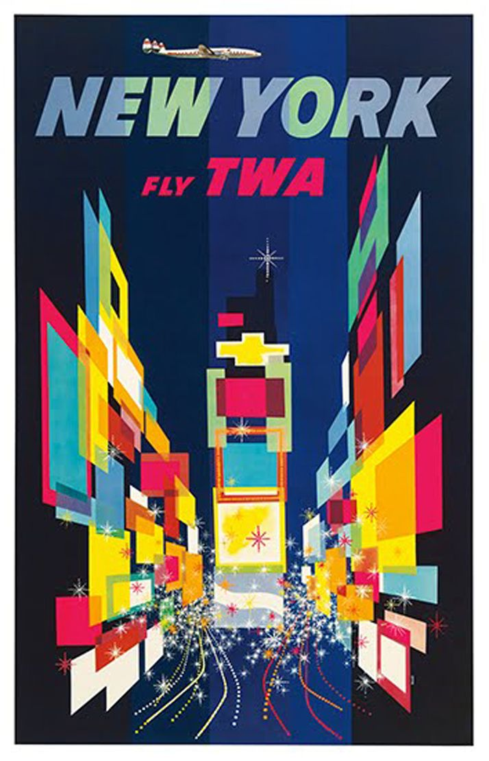 hollyhocksandtulips new york fly twa vintage travel postergraphic design by david klein. Black Bedroom Furniture Sets. Home Design Ideas