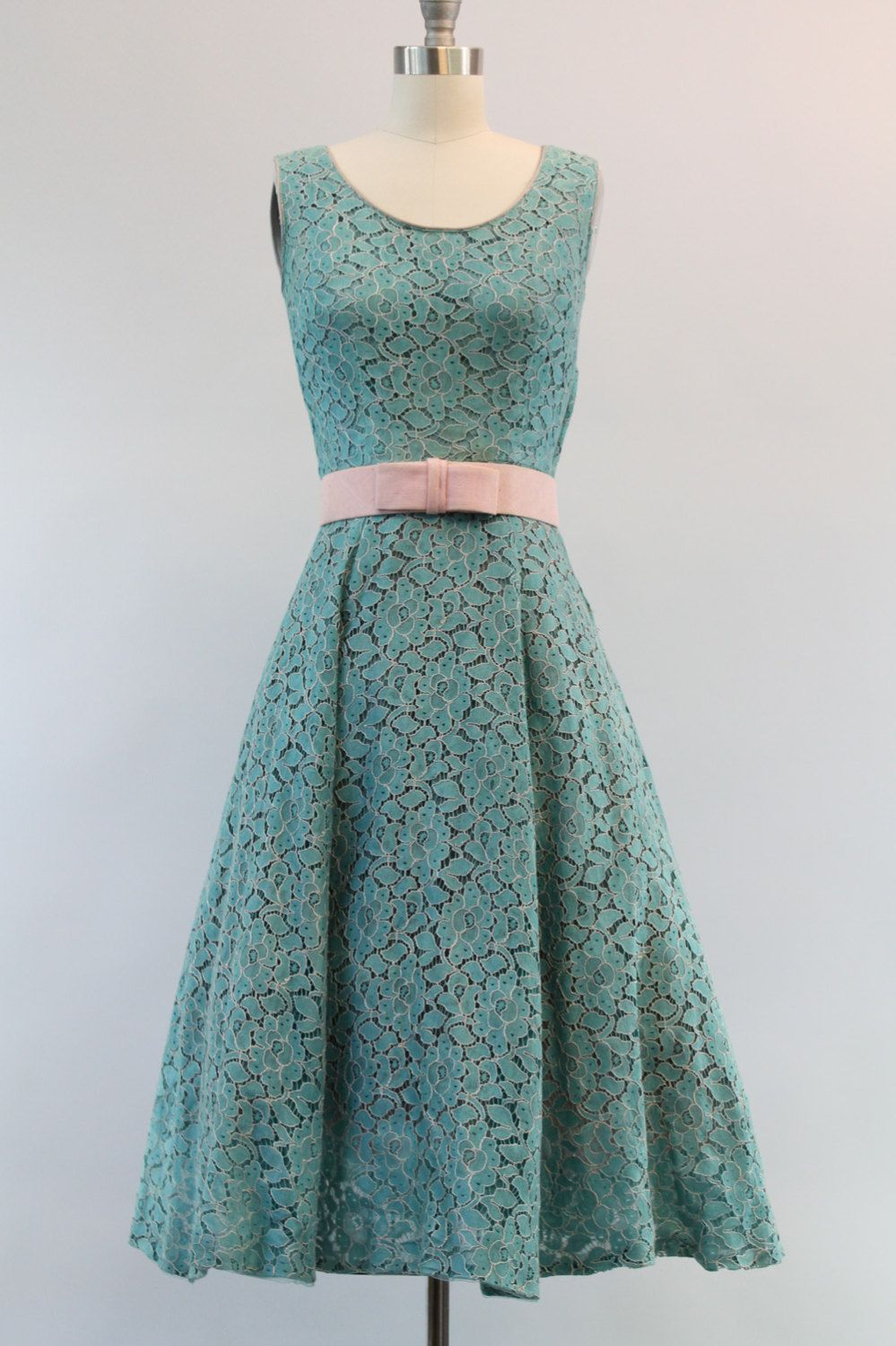 79098a5db7ce 50s Lace Frock XSmall   1950 Sea Blue and Pink by CrushVintage ...