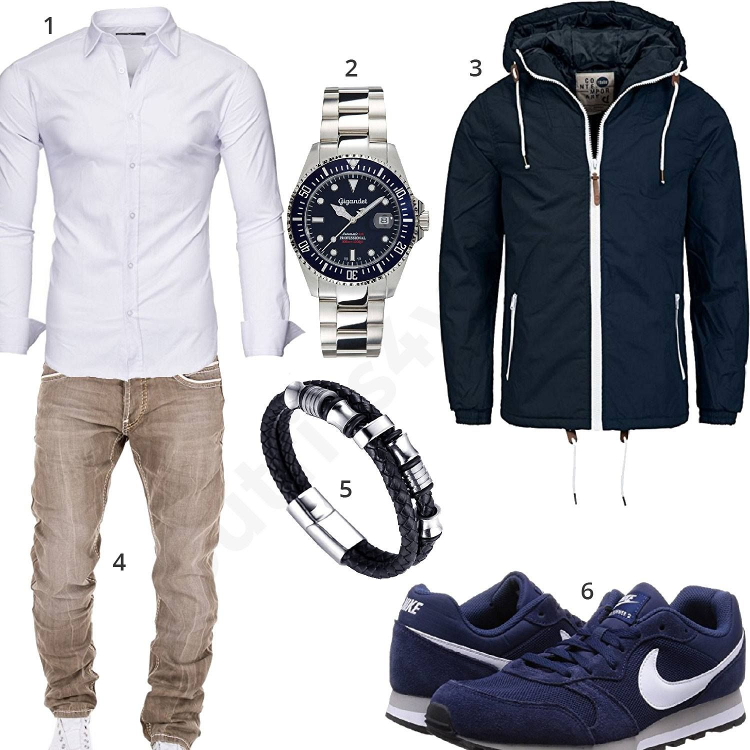 herren outfit mit wei em kayhan hemd gigandet uhr blauer solid jacke beiger merish jeans. Black Bedroom Furniture Sets. Home Design Ideas