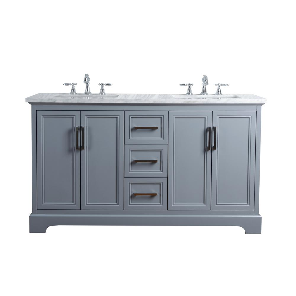 Stufurhome 60 In Ariane Double Sink Vanity In Gray With Marble
