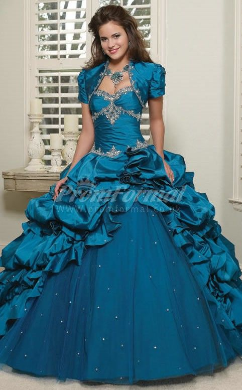 159aaa45217 Turquoise Taffeta Sweetheart Lace-up Ball Gown Quincenera Dresses ...