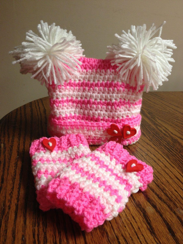 Newborn (0-3 months) baby girl Valentine's Day crochet hat & leg ...