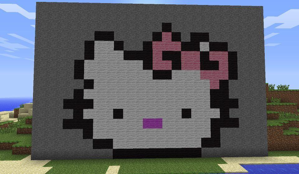 Hello Kitty Pixel Art On Minecraft