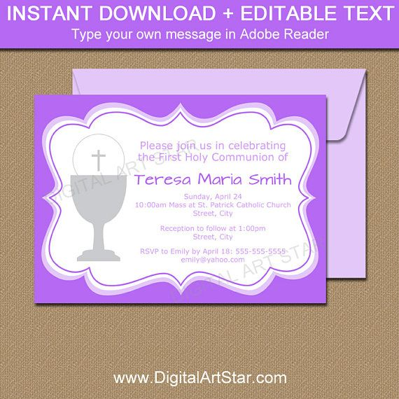 Purple 1st Communion Invitation Template, Girl First Communion - invitation templates holy communion