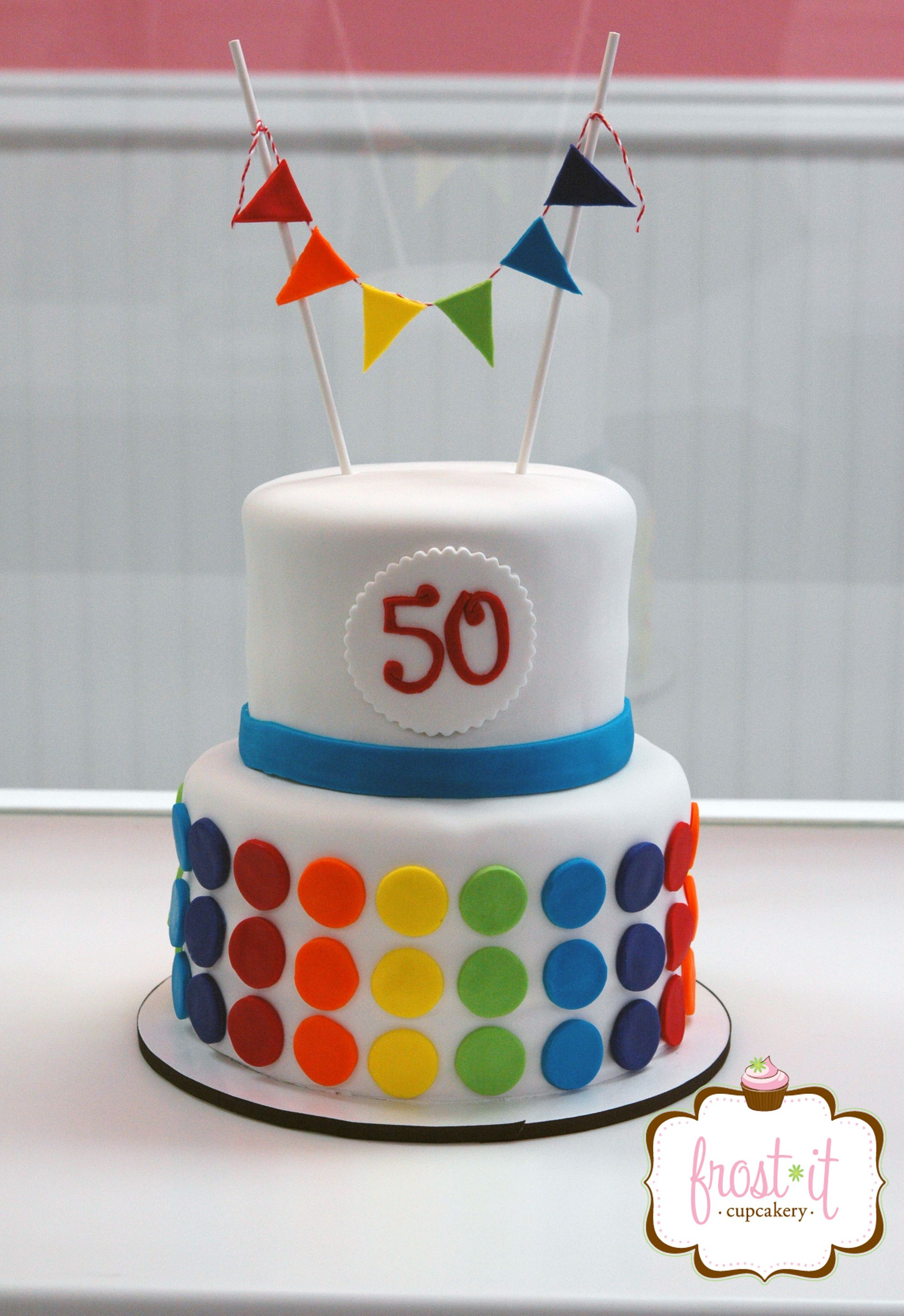 Two Tier Fondant Rainbow Color Polka Dot Cake Cute