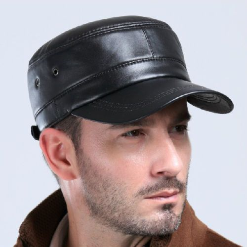 Mens Womens Black Solid Leather Biker Flat Cap Adjustable Motorcycle Peaked  Hat a48bed7dc8e