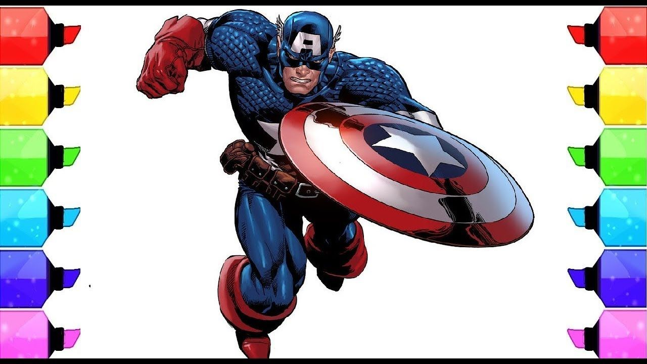 Coloring Book Captain America Coloring pages l Kids Drawing and ...