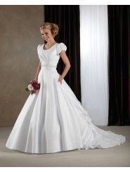 Taffeta Scoop Neckline Cap Sleeves Embroidered Bodice Wedding Dress