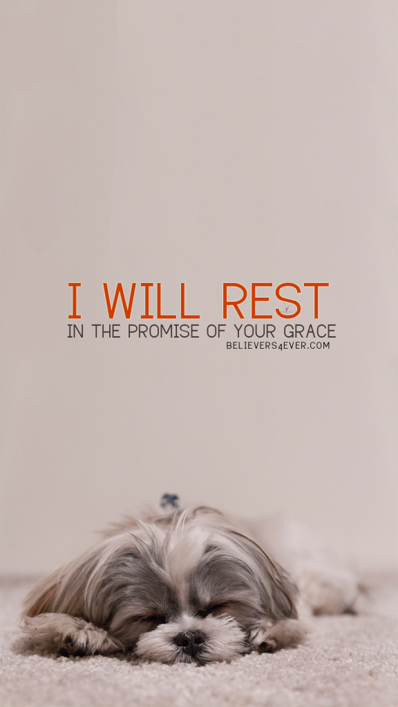 I Will Rest On The Promise Of Your Grace Free Christian Lock Screen Wallpaper For Your Mobile Phone Cutepuppylockscreen Puppy Safe Puppies Puppy Care