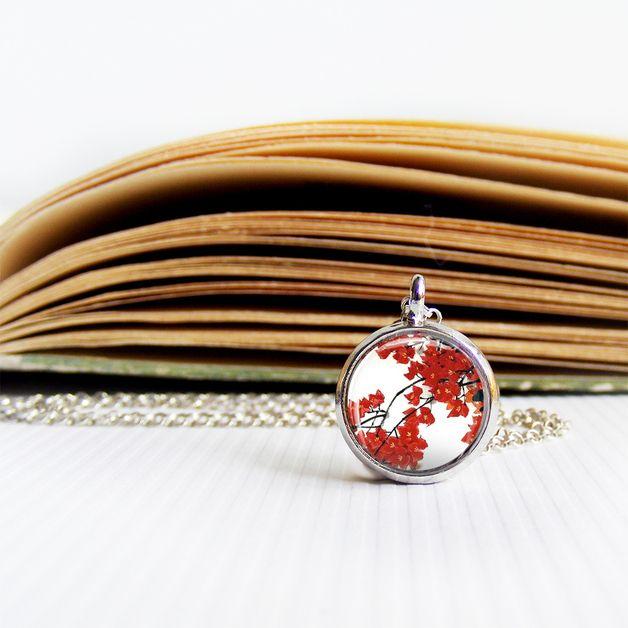 Flowers Photo Glass Tile Pendant, necklace