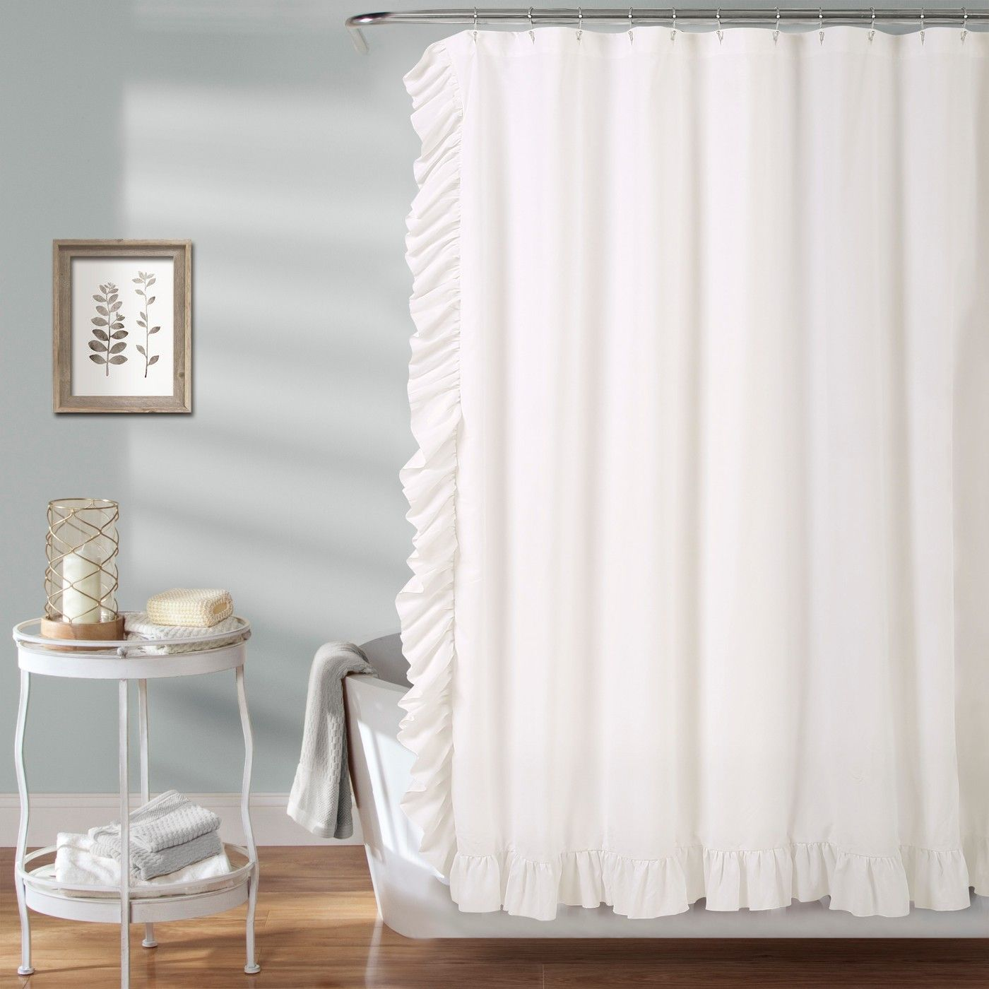 Reyna Solid Shower Curtain White Lush Decor Shower Curtains