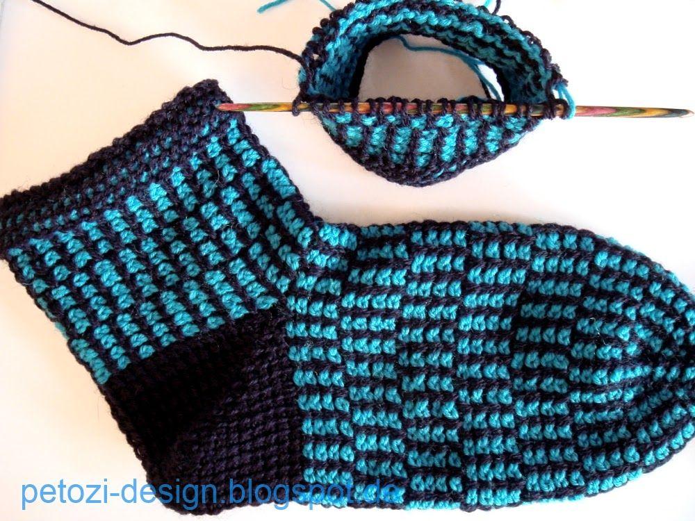Petozi Design Tunesisch Gehäkelte Socken Tunesisch Häkeln
