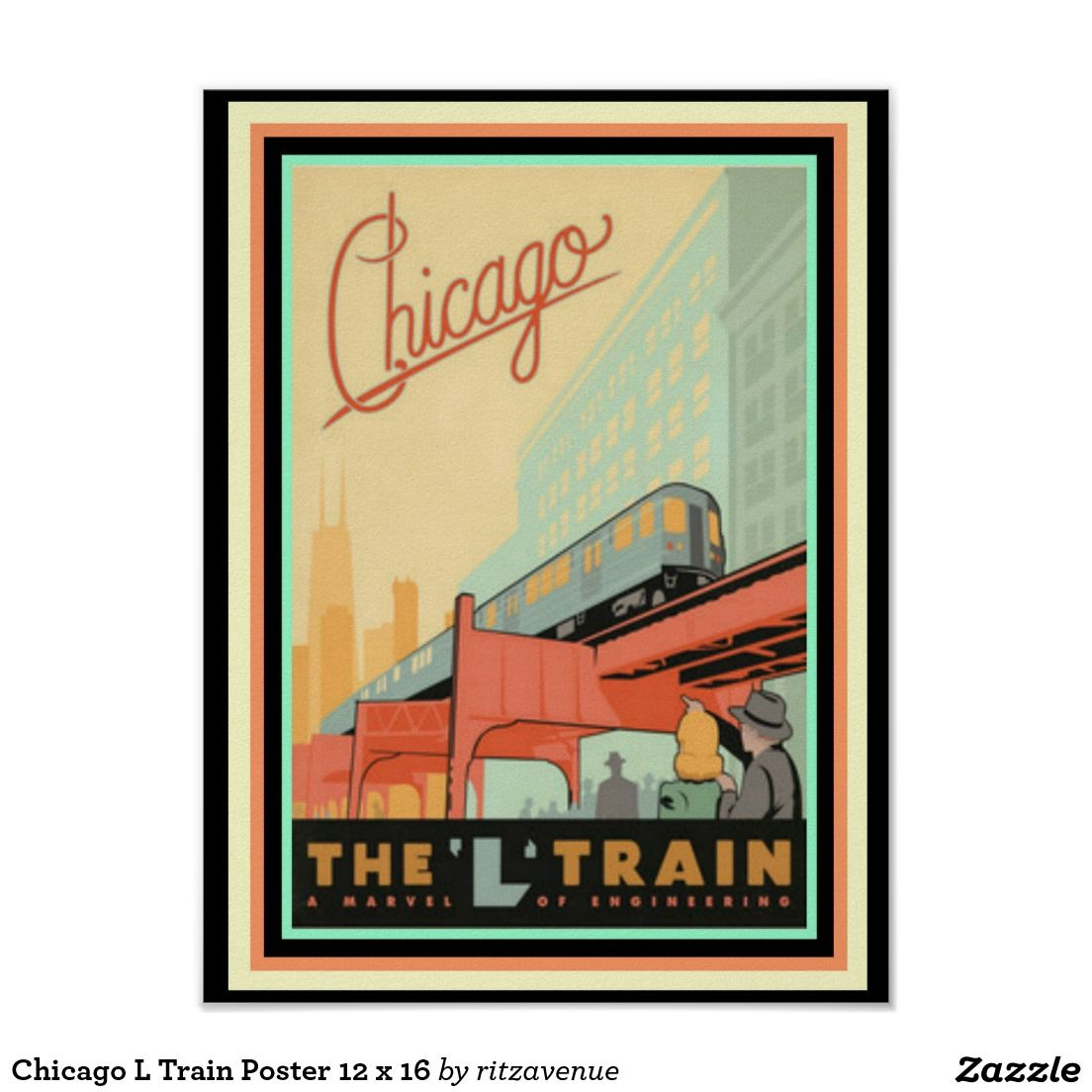 Chicago L Train Poster 12 x 16 $12.00 | Posters I Like | Pinterest ...