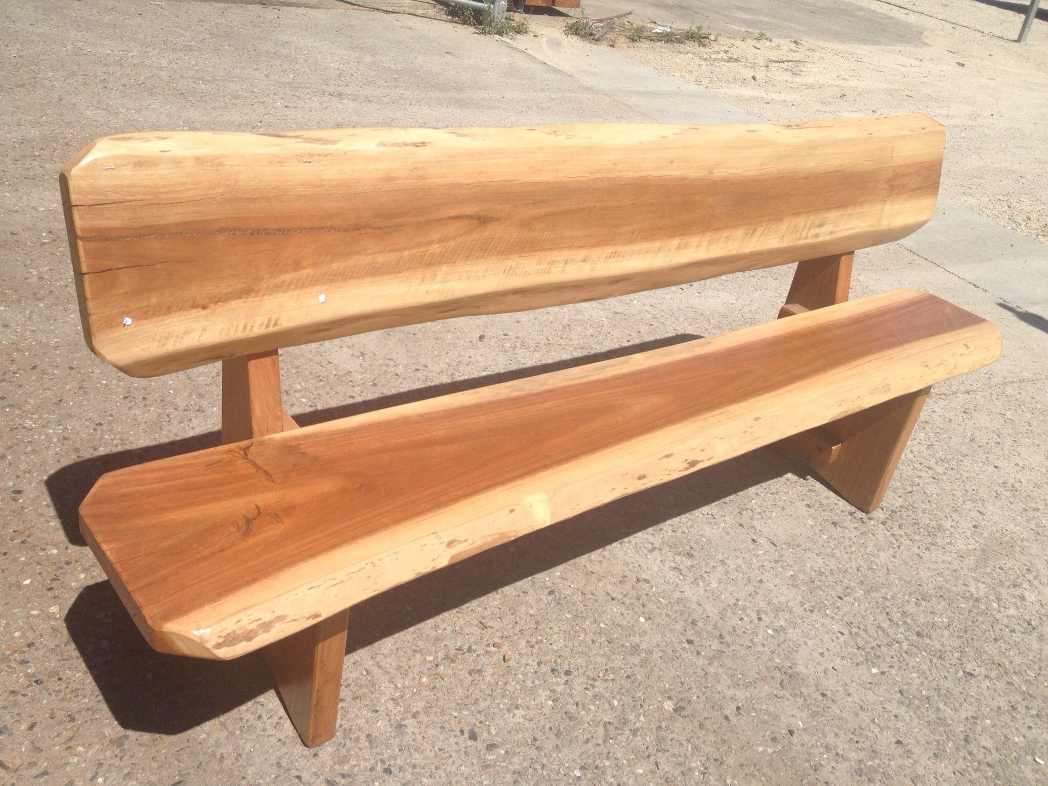 Hardwood Slab Garden Seats 1900 mm long coated for external use in