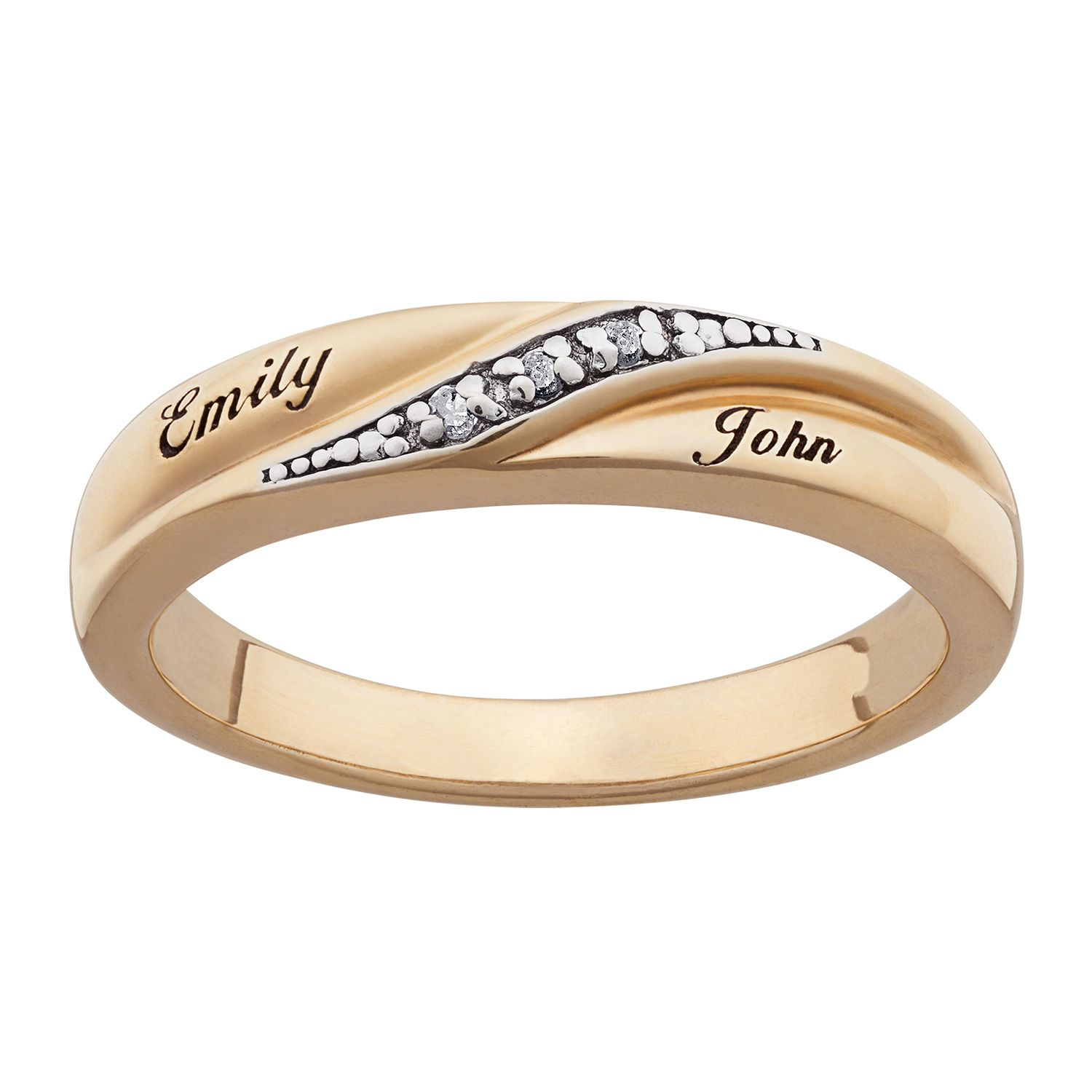 Las Gold Over Sterling Diamond Accent Name Wedding Band
