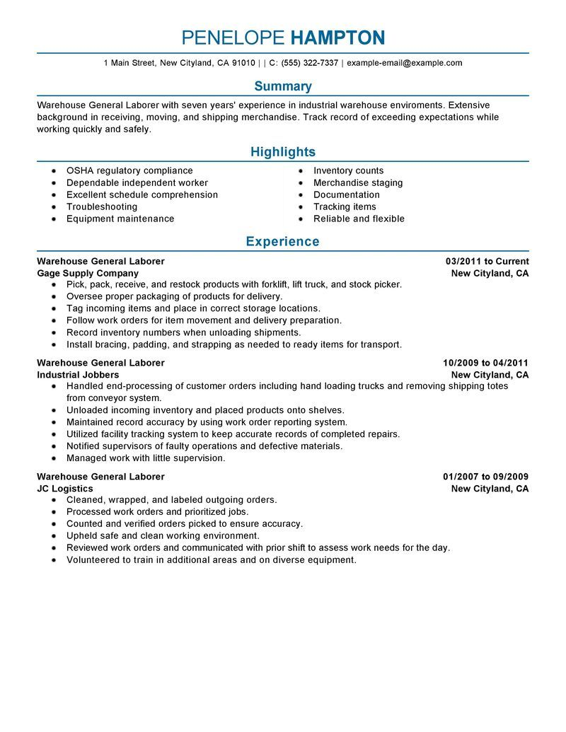 Beautiful General Labor Resume Example Production Sample Resumes Livecareer Free  Templates Examples For Teachers  General Warehouse Worker Resume
